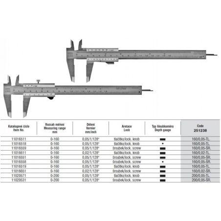 Posuvné měřítko s hloubkoměrem se šroubkem 160mm 251238 - SOMET