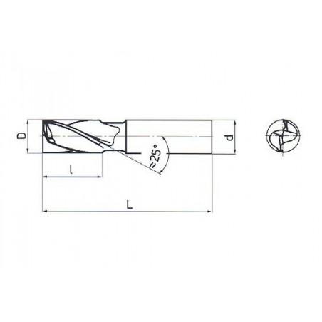 Fréza pro drážky per dlouhá, nesouměrná F221408