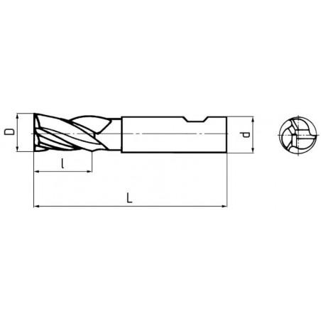 Fréza pro drážky per dlouhá, třízubá, nesouměrná F231418