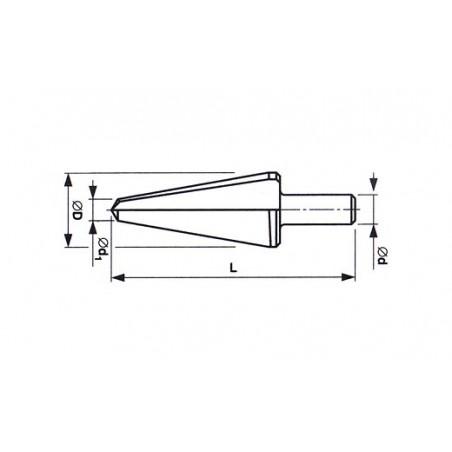 Vrták kuželový s válcovou stopkou na díry do plechu HSS 221260